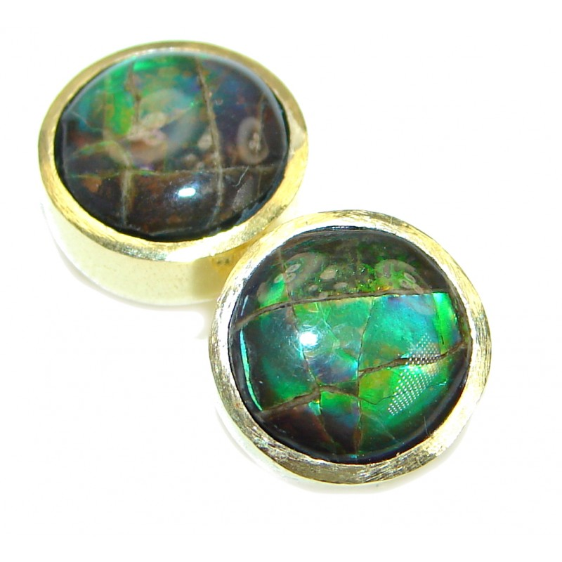 Green Aura Fire Ammolite gold over .925 Sterling Silver handmade stud earrings