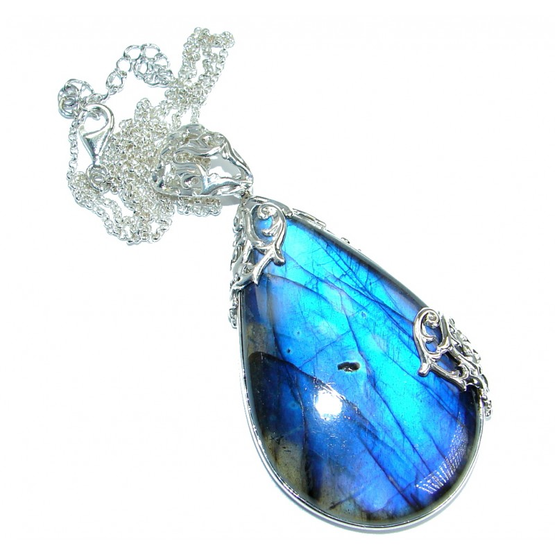 Bohemian Style Fire Labradorite handmade .925 Sterling Silver entirely handcrafted necklace
