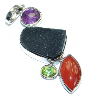 Natural Druzy Agate .925 Sterling Silver handmade Pendant