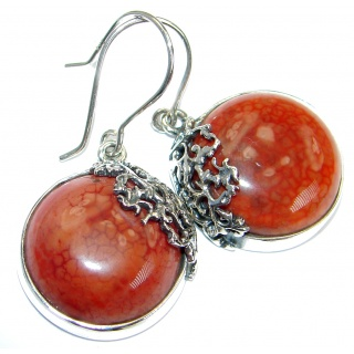 Mexican Agate oxidized .925 Sterling Silver handmade earrings