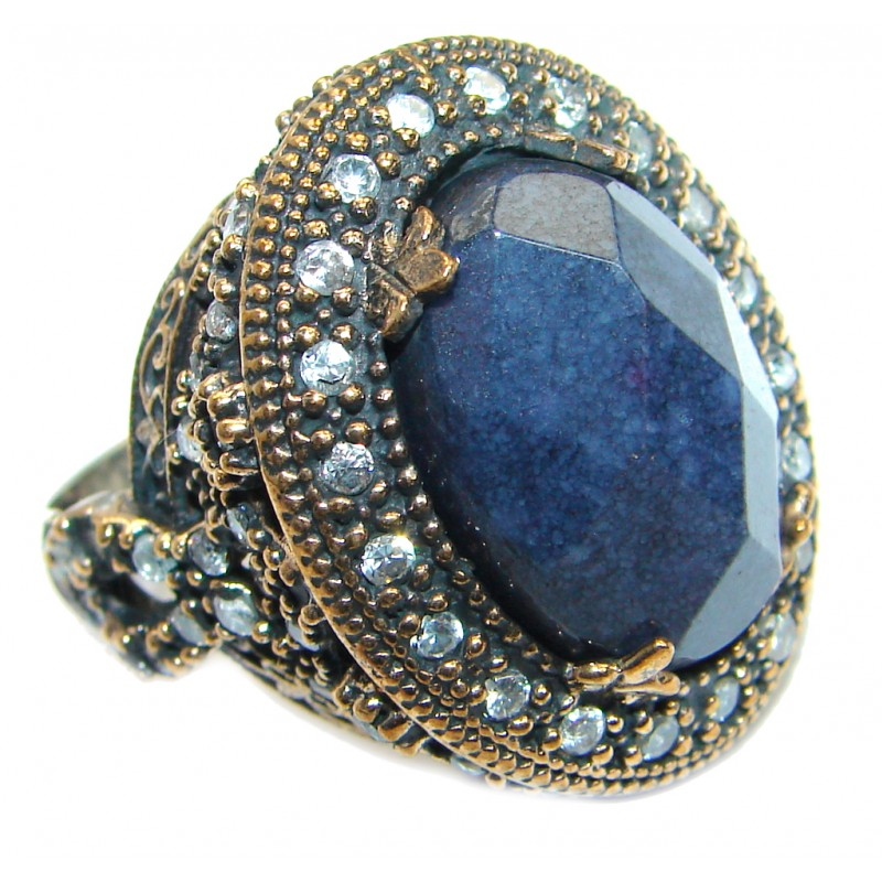 Created Blue Sapphire & White topaz Sterling Silver Ring s. 6