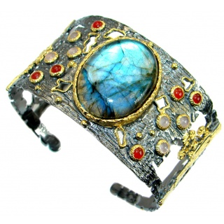 Shimmering Labradorite 18ct Gold plated over .925 Sterling Silver handmade Bracelet / Cuff