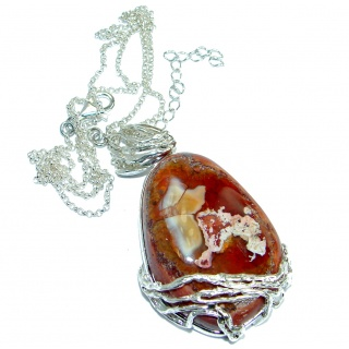 Supreme Quality Great Mexican Fire Opal Oxidized .925 Sterling Silver artisian handmade Necklace