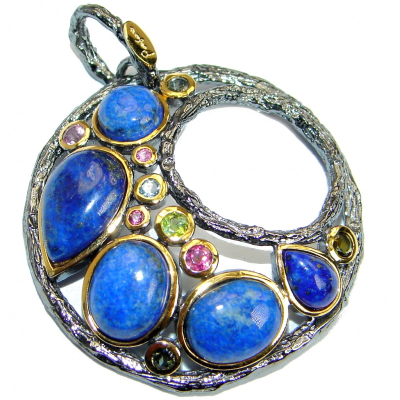 Excellent quality Blue Lapis Lazuli Gold plated over .925 Sterling Silver Pendant