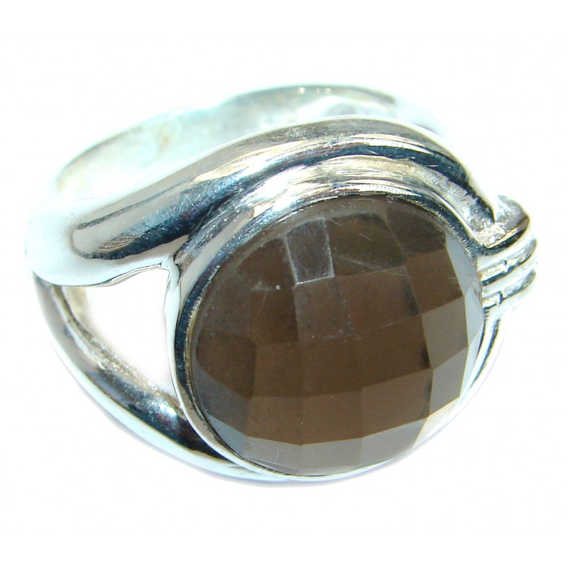 Amazing Smoky Topaz Sterling Silver ring s. 8