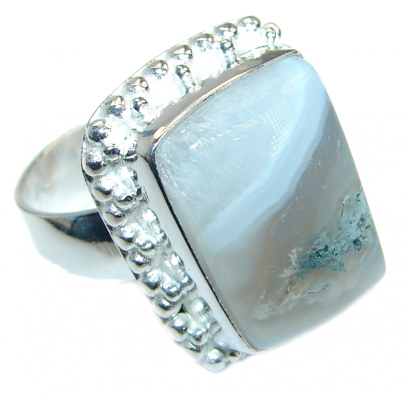 Botswana Agate Silver Tone ring s. 9