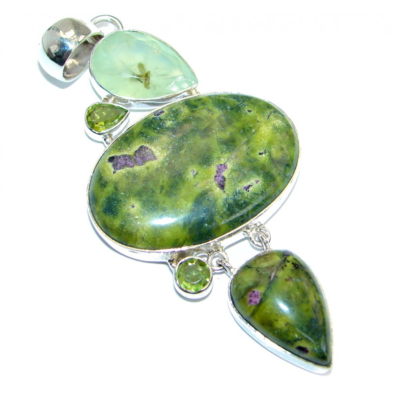 Exquisite Green Rainforest Jasper .925 Sterling Silver handmade Pendant