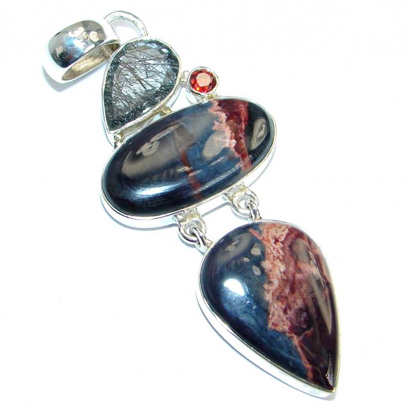 Fancy Bloodstone .925 Sterling Silver handmade pendant