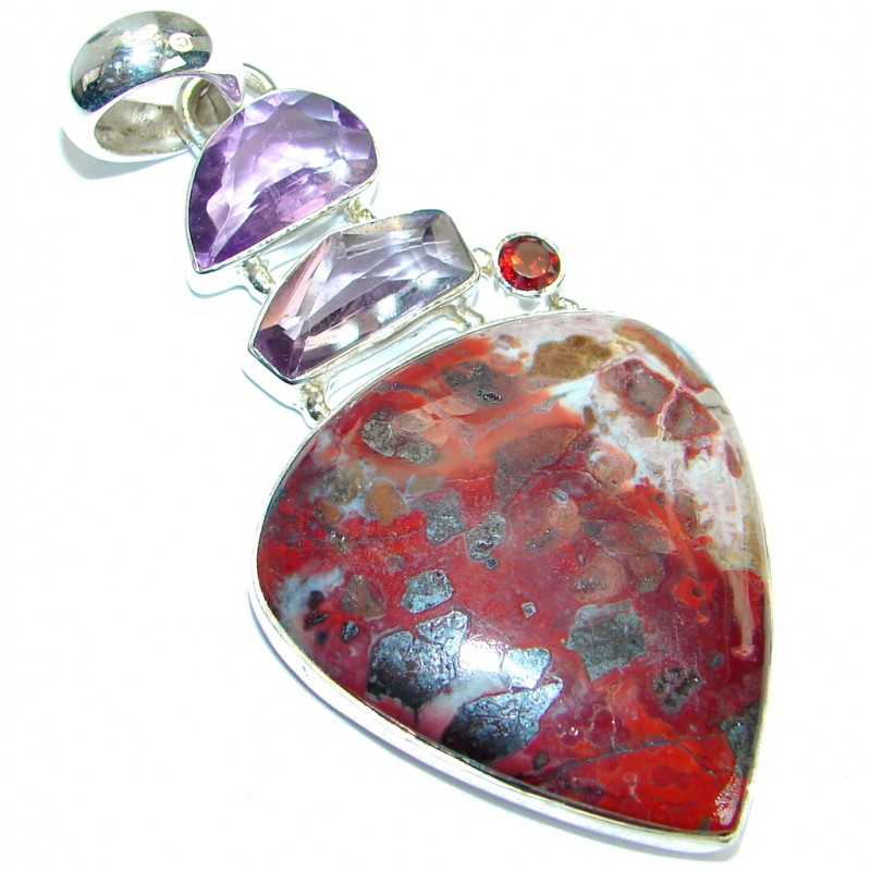 Amazing genuine Crazy Lace Agate Garnet .925 Sterling Silver handmade Pendant