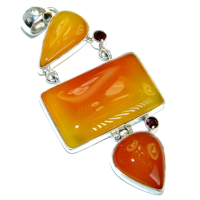 Sublime Beautiful genuine Carnelian .925 Sterling Silver handmade Pendant