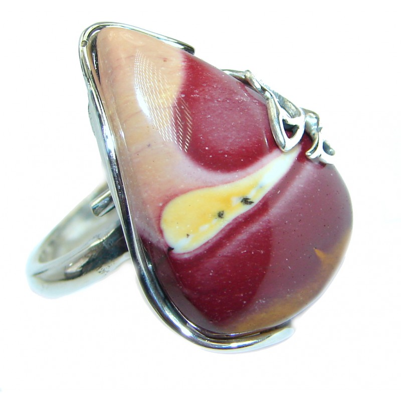 Australian Mookaite .925 Sterling Silver handcrafted Ring size 7 adjustable