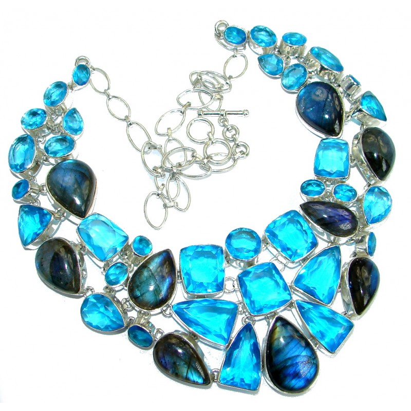 Huge Gallery Masterpiece Fire Labradorite Lab. Blue Topaz .925 Sterling Silver necklace
