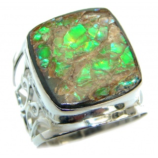 Unisex Rainbow Fire Ammolite .925 Sterling Silver handmade ring s. 8 3/4