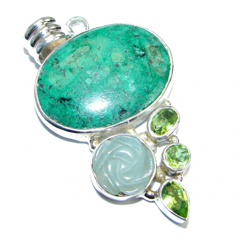 Exquisite Green Turquoise .925 Sterling Silver handmade Pendant