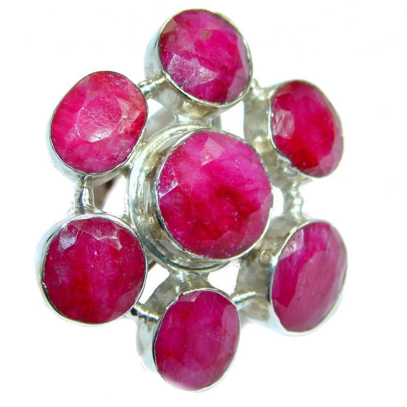 Large Ruby .925 Sterling Silver ring; s. 10 1/4