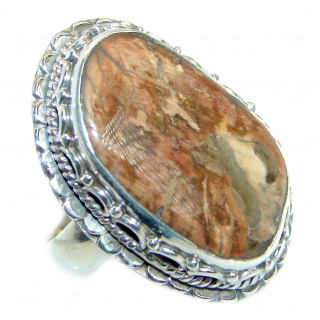 Australian Brecciated Wood .925 Sterling Silver Ring size 7