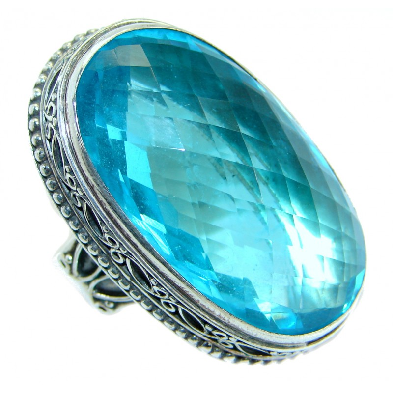 Energazing created Blue Topaz Quartz Sterling Silver Ring size 9