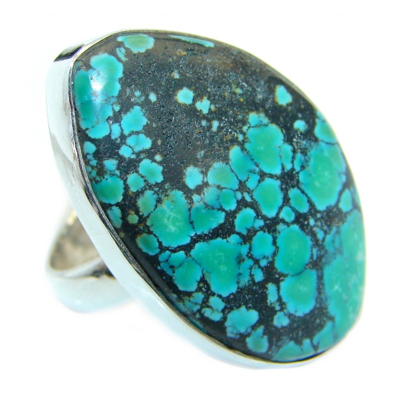 Huge Genuine Spider's Web Turquoise .925 Sterling Silver handmade Ring s. 9