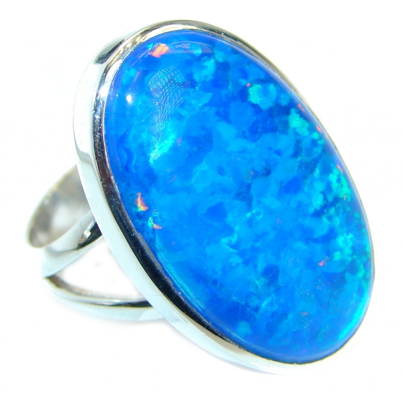Mesmerizing Japanese Fire Opal .925 Sterling Silver ring size 8 adjustable