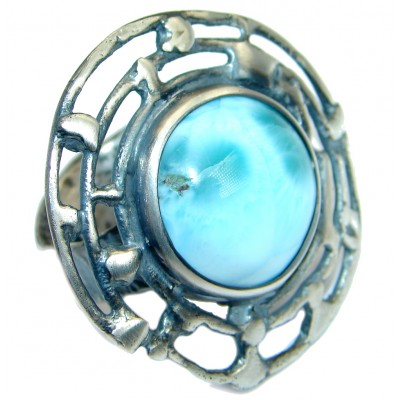 Huge Genuine Larimar Oxidized .925 Sterling Silver Ring s. 7 adjustable