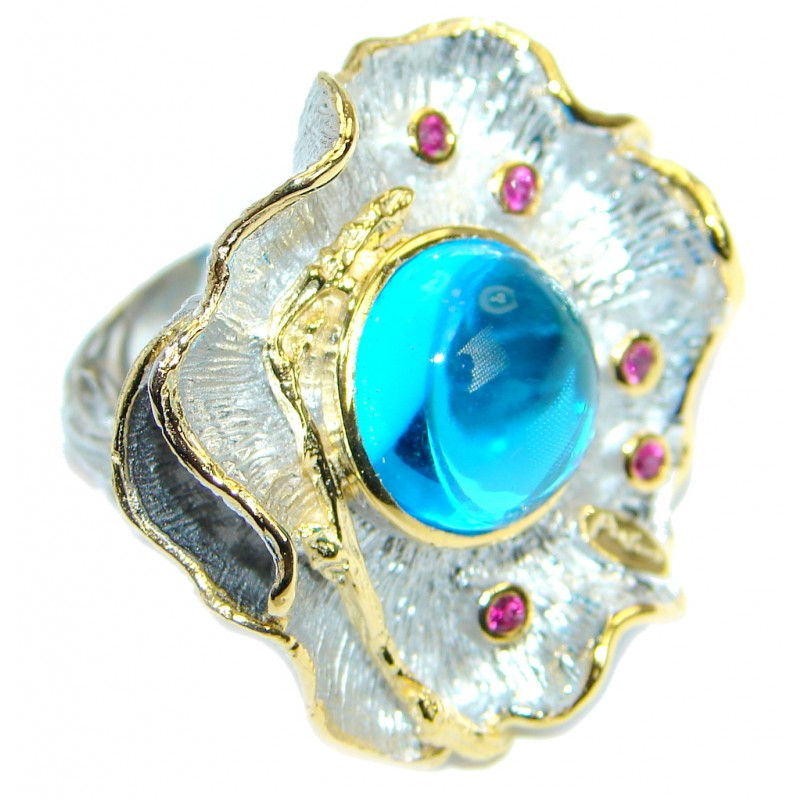 Baroque Style Blue Topaz Gold Plated over .925 Sterling Silver Ring s. 6 1/4 adjustable