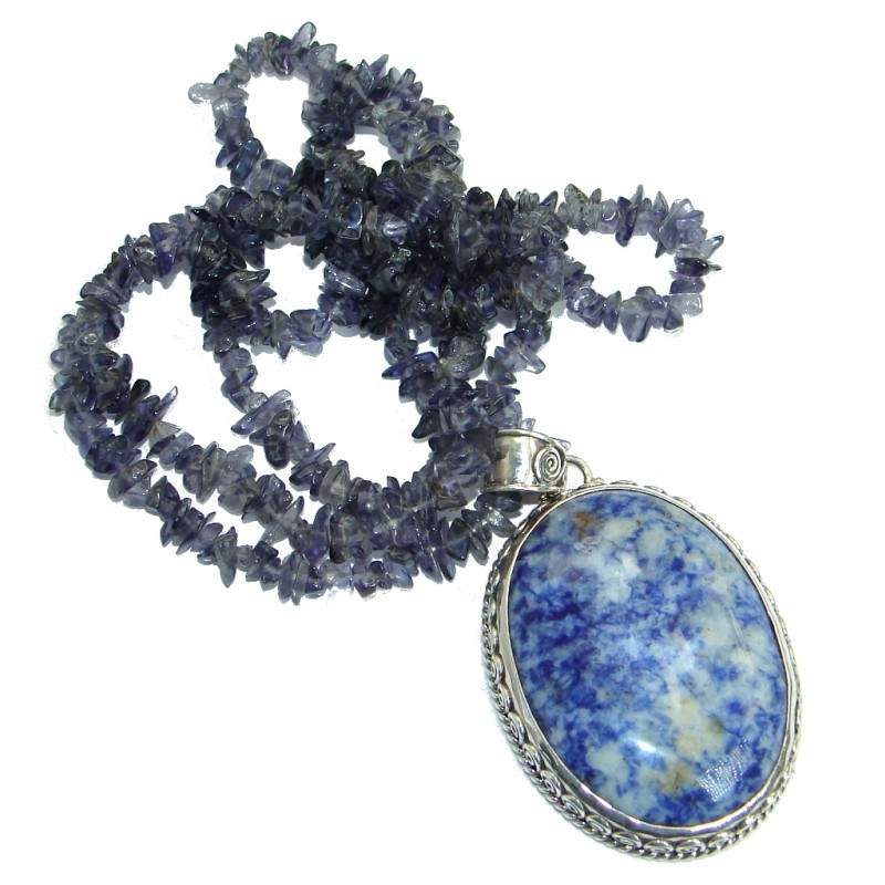 Incredible genuine Sodalite Iolite .925 Sterling Silver handmade necklace