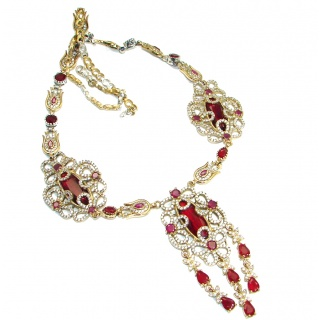 Bold Victorian created Ruby White Topaz & White Topaz .925 Sterling Silver Statement necklace