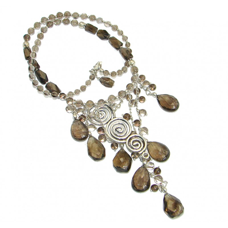 Special Item Brazilian Natural Top Smoky Quartz .925 Silver handmade Necklace