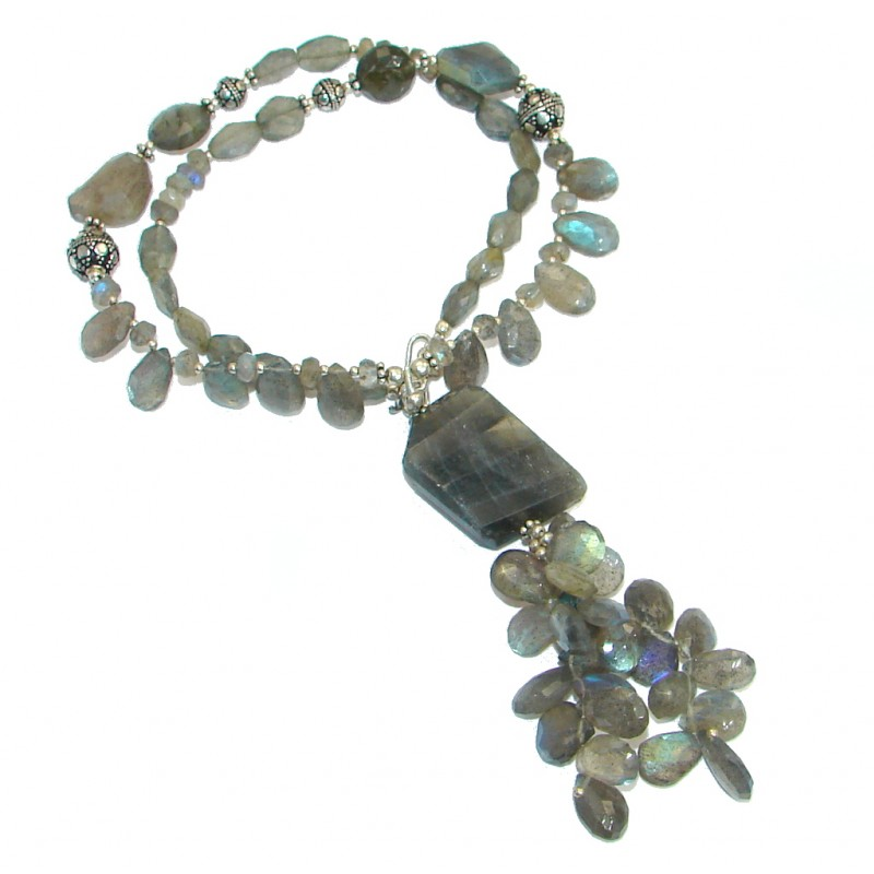Supreme Quality Labradorite Oxidized .925 Sterling Silver artisian handmade Necklace