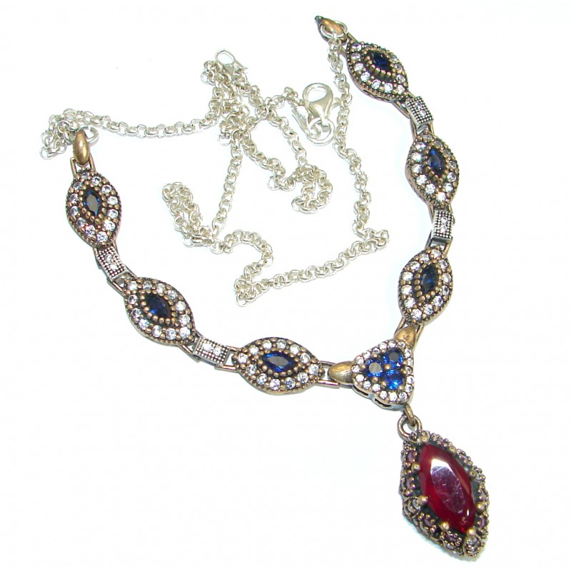 Victorian created Ruby White Topaz & White Topaz .925 Sterling Silver necklace