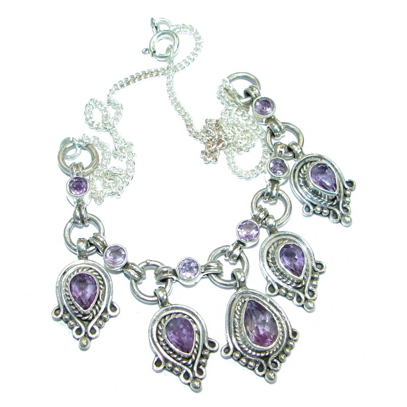 Simple genuine Amethyst Beads Strand Necklace .925 Sterling Silver 16 inches necklace