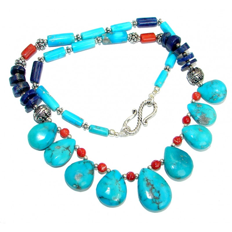 American Spirit Natural Beauty Turquoise Sterling Silver handmade Necklace