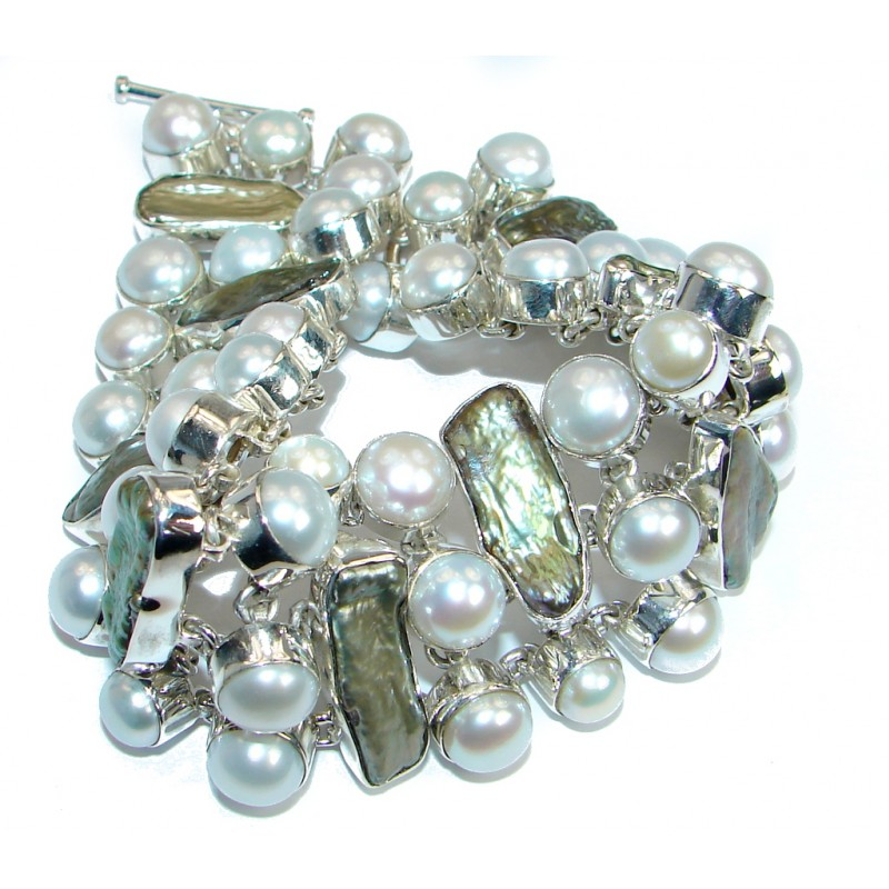 Large 67.8 grams Authentic Pearl .925 Sterling Silver handmade Bracelet