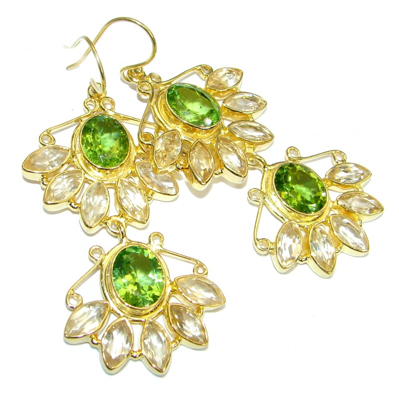 Large Authentic Peridot Gold plated over .925 Sterling Silver handmade earrings