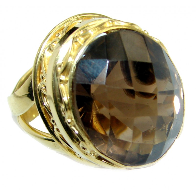 Amazing Smoky Topaz Gold over .925 Sterling Silver ring s. 8 adjustable
