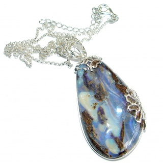 Natural Earth Mined Opaque Australian Boulder Opal .925 Sterling Silver handcrafted necklace