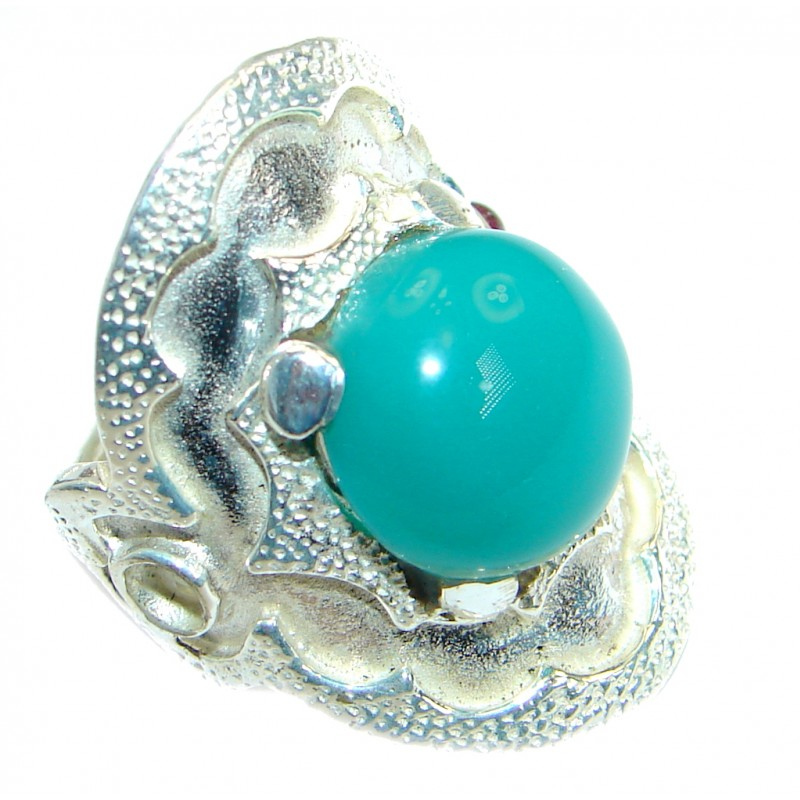 Great Agate .925 Sterling Silver hancrafted Ring s. 7