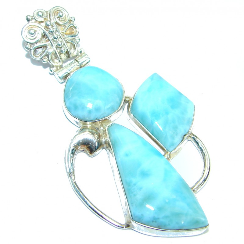 Nature inspired Sublime Larimar .925 Sterling Silver handmade pendant