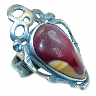 Australian Mookaite oxidized .925 Sterling Silver handcrafted Ring size 7 adjustable