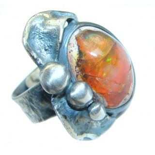 Bold Mexican Opal oxidized .925 Sterling Silver handcrafted ring size 7 adjustable
