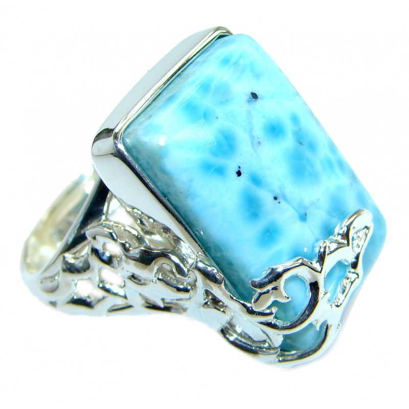 Genuine Larimar .925 Sterling Silver handcrafted Ring s. 6 adjustable
