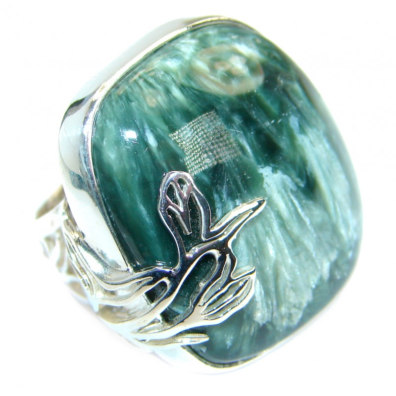 Great quality Green Russian Seraphinite Sterling Silver Ring size 7 adjustable