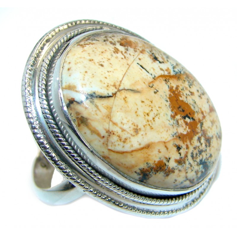 Picture Jasper .925 Sterling Silver handmade Ring s. 6 1/2