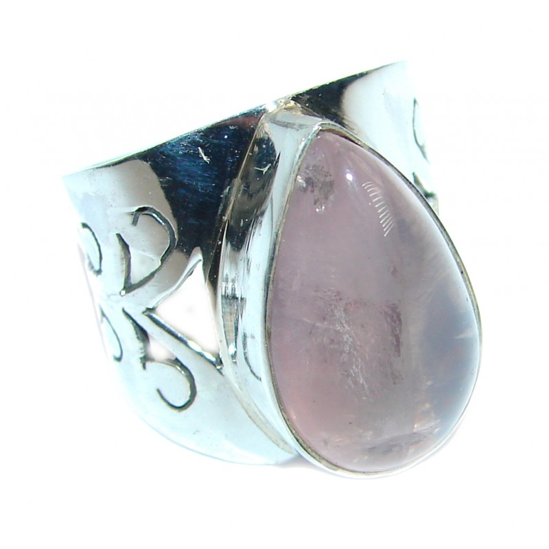 Supernova Pink Amethyst Sterling Silver handmade ring; size 6