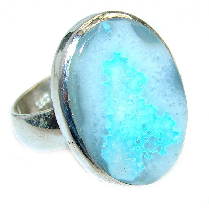 Natural Druzy Agate Sterling Silver ring s. 9 3/4