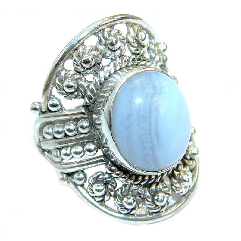 Exotic Lace Agate Sterling Silver Ring s. 6 3/4