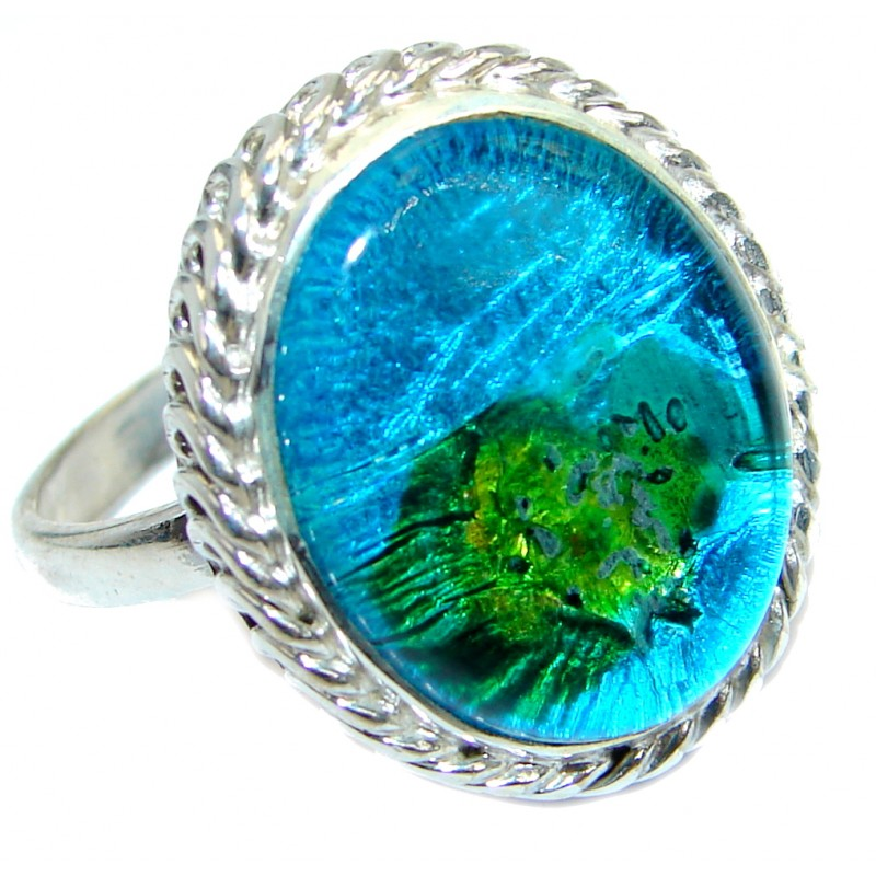 Blue Dichroic Glass .925 Sterling Silver handmade ring size 8 1/4