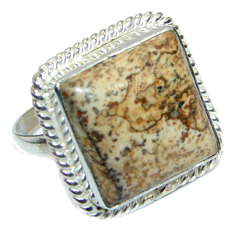 Picture Jasper .925 Sterling Silver ring s. 10