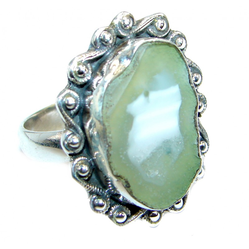 Natural Agate .925 Sterling Silver ring s. 11