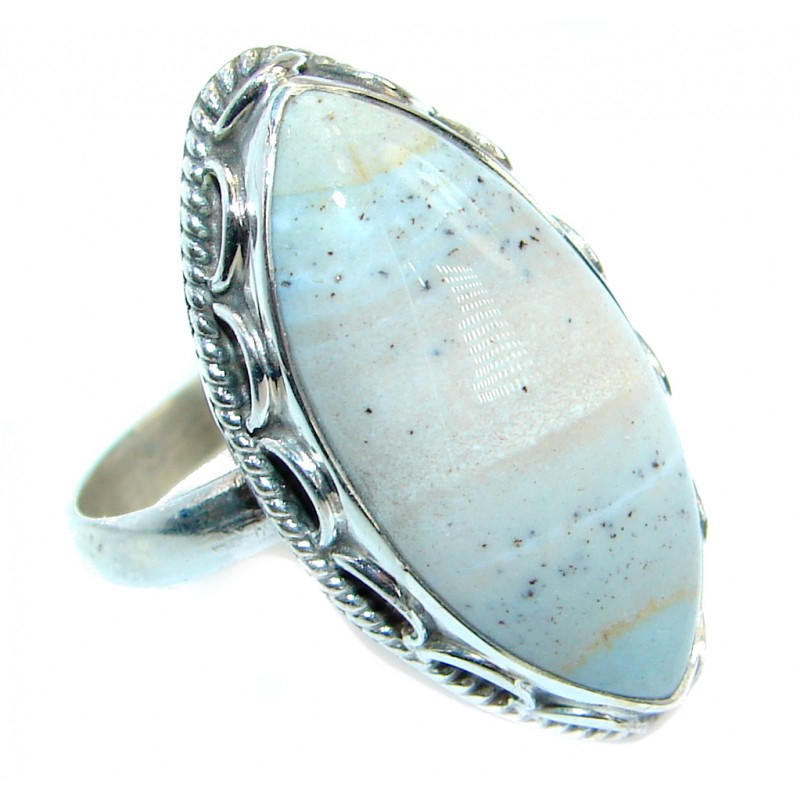 Natural Agate .925 Sterling Silver ring s. 8
